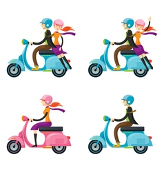 Couple Man Woman Riding Scooter vector image vector image