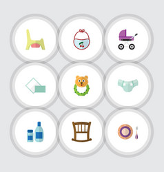 Flat icon baby set of rattle stroller cream with vector