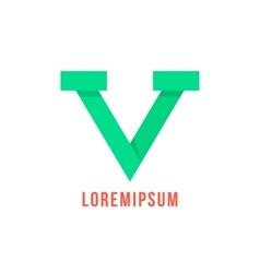 green v letter like victory emblem vector image