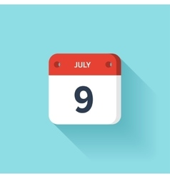 July 9 Isometric Calendar Icon With Shadow vector image vector image
