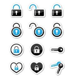 Padlock key account icons set vector image vector image