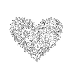 black and white floral heart vector image vector image