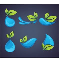 leaves and drops vector image vector image