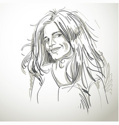 Portrait of delicate good-looking flirting woman vector