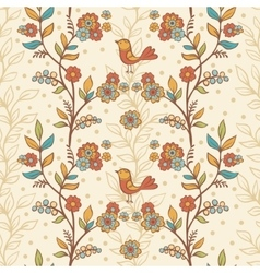 Seamless floral pattern with birds and flowers vector image vector image