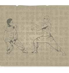 The old two men are engaged in Kung Fu vector image vector image