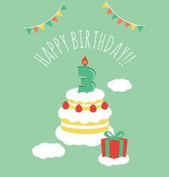 3 years old birthday card vector