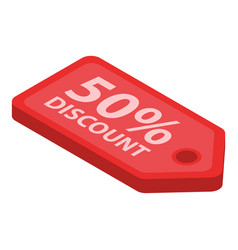 50 percent discount label icon isometric style vector image