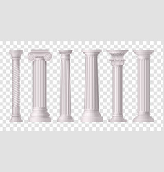 Antique white columns transparent icon set vector