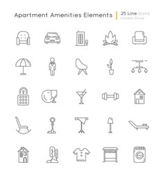 Apartment amenities linear icons set vector