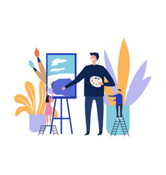 art therapy concept artist paints picture flat vector image