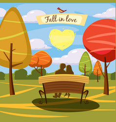 autumn landscape bench lovely couple in love vector image