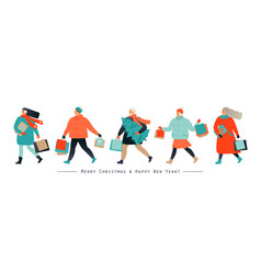 banner with people hurrying for a great christmas vector image