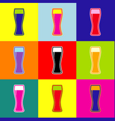 beer glass sign pop-art style colorful vector image