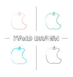 Bitten apple hand drawn icons set vector