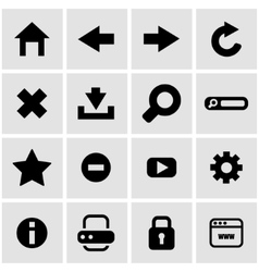 black browser icon set vector image