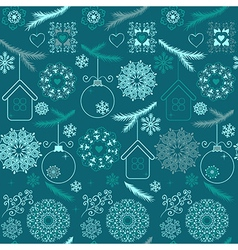 Blue christmas seamless pattern with snowflakes on vector image