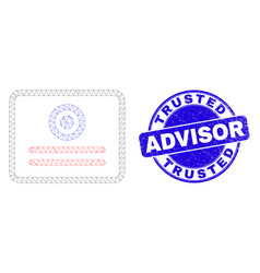 Blue scratched trusted advisor stamp seal and web vector
