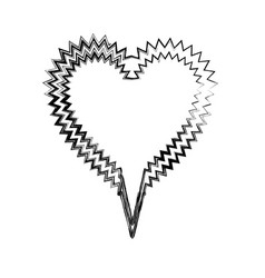 Blurred silhouette heart shape callout scream for vector