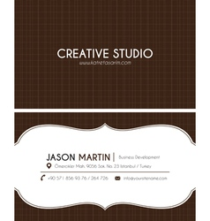 Brown creative business card vector image
