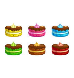 Cartoon colorful cakes set vector