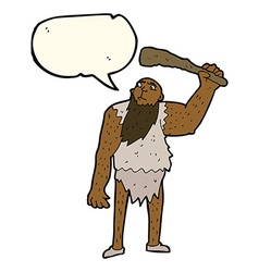 Cartoon neanderthal with speech bubble vector