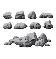 Cartoon stones broken rock stone pile 3d design vector