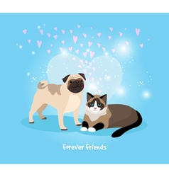 Cat and Dog Friends vector