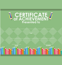 certificate template with books and pencil vector image