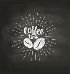 Chalk lettering coffee time on black board vector
