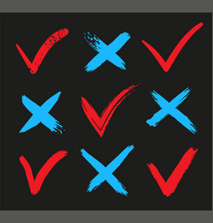 check mark ok and x icons yes or no accept and vector image