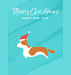 christmas and new year holiday corgi dog card vector image