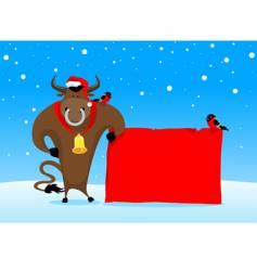 Christmas bull vector image vector image