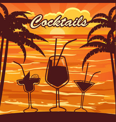 Cocktail bar invitation flyer cartoon style vector