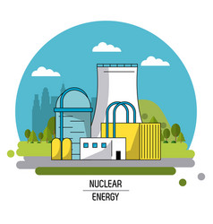 color landscape image nuclear energy production vector image
