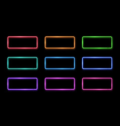 Colorful neon frame set 1980s square shape signs vector