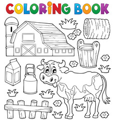 coloring book cow theme 1 vector image