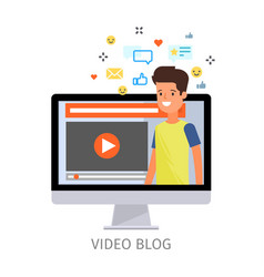 concept of video blogging vector image