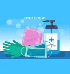 Covid19-19 safety set vector