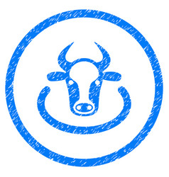 Cow area rounded grainy icon vector