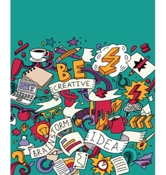 Creative doodles idea brainstorm color card vector image
