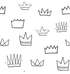 crown seamless pattern hand drawn royal doodles vector image