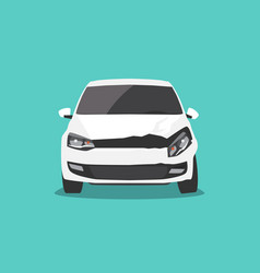 Damaged white car front view car accident vector