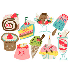 delicious desserts set confectionery and sweets vector image