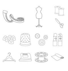 design fashion and tailoring symbol set vector image