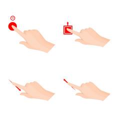 Design of touchscreen and hand logo vector
