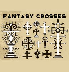 Design set with fantasy crosses 6 vector