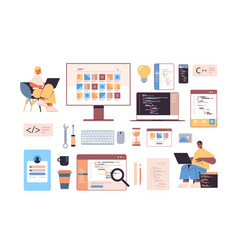 development software and programming icons set vector image