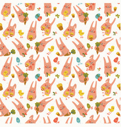 easter rabbits seamless pattern vector image