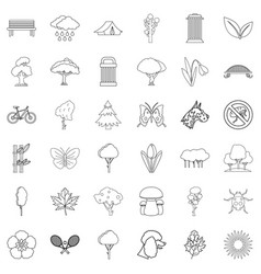 Eco protection icons set outline style vector